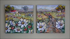 Wildflowers, Set of 2 - Janet's Art Acrylic on stretched canvas janet1bester@gmail.com Stretched Canvas, Wildflowers, Art Drawings, Painting, Wild Flowers, Painting Art, Paintings