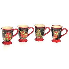 Vintage Christmas Set of 4 Mugs - jcpenney