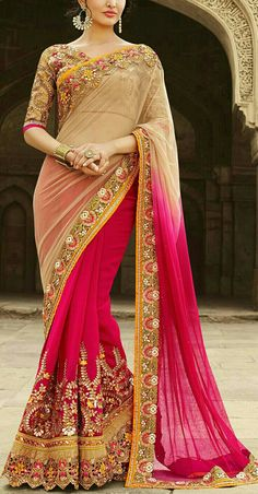 Beige and Brown, Pink and Majenta color family Bridal Wedding Sarees with matching unstitched blouse. - Beige and Brown, Pink and Majenta color family Bridal Wedding Sarees with matching unstitch - Fancy Sarees, Party Wear Sarees, Fashion Moda, Look Fashion, Cheap Fashion, Fashion Women, Indian Dresses, Indian Outfits, Indian Bridal Wear
