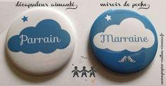 """Duo """"Parrain & Marraine"""" Thème nuage bleu http://www.papier-caillou-ciseaux.fr/boutique/bapt%C3%AAme/"""
