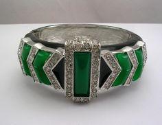 Art Deco Bracelet | ... Lane : Kenneth Jay Lane Simulated Jade Inlay Art Deco Bangle Bracelet