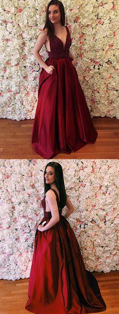 modest burgundy satin prom dresses with pockets, elegant v neck evening gowns with beading, simple a line v back party dresses #promdress #dressywomen