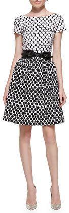 $890, White Polka Dot Midi Dress: Short Sleeve Polka Dot Contrast Dress by Oscar de la Renta. Sold by Neiman Marcus. Click for more info: http://lookastic.com/women/shop_items/240076/redirect
