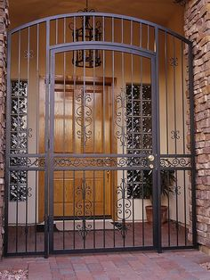 Steel Shield Security Doors & More protects you and your family with a wide selection of steel entry enclosures that keep intruders out. Steel Gate Design, House Gate Design, Door Gate Design, Front Door Design, Railing Design, Staircase Design, Wrought Iron Security Doors, Steel Security Doors, Wrought Iron Doors