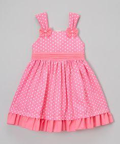 Look at this Pink Polka-Dot Ruffle-Hem Dress - Toddler & Girls on #zulily today!