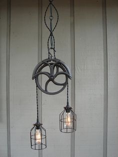 Vintage Well Pulley Pendant Light with by BenclifDesigns