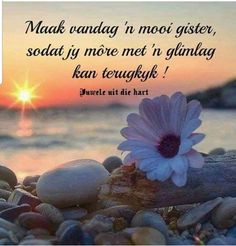 Maak vandag ń mooi gister. Good Morning Wishes, Good Morning Quotes, Inspirational Qoutes, Motivational Quotes, Wisdom Quotes, Life Quotes, Lekker Dag, Evening Greetings, Afrikaanse Quotes