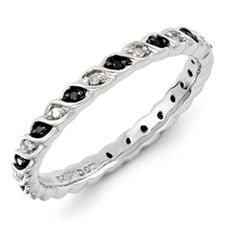 Stackable Expressions Sterling Silver Black and White Diamond Ring.  Sale Priced At $150.  Available in sizes 5-6-7-8-9-10.  #QSK1051.