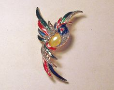Jelly Belly Bird of Paradise Large Brooch by delightfullyvintage