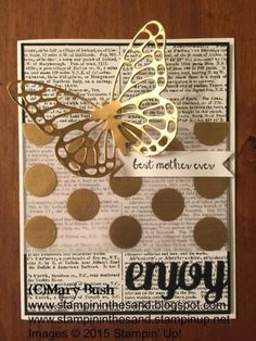 Stampin up mothers day card. butterfly framelit, fancy foil vellum