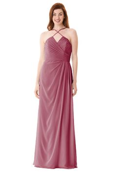Pleated V-neck dress with front crossing spaghetti straps. Open back. Center back zipper. | Style BC-1663 #bridesmaids #wedding