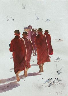 """You don't live on the earth, you are walking through the earth."" —Rumi (Artist: Myoe Win Aung) ..*"