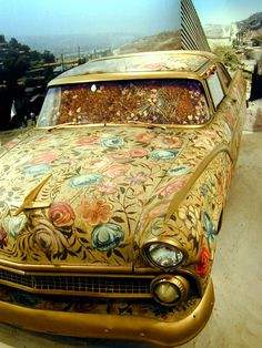 The Ayate Car by Betsabee Romero :: 1955 Crown Victoria, canvas, oil, and roses. The Art Car Museum, Houston, Texas