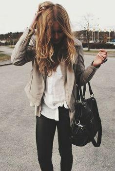 Beige leather jacket, white top, black pants, black purse/bag #taupe