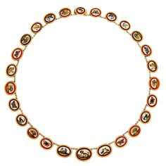 1stdibs   Antique Micromosaic Necklace in 18K Gold; Carven Paris,Circa 1800