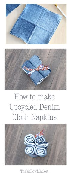 Upcycled Homemade Fabric Napkins with Terry Cloth. Reusable Napkins.