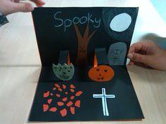 Halloween pop-up-kort, indskoling, billedkunst, engelsk.