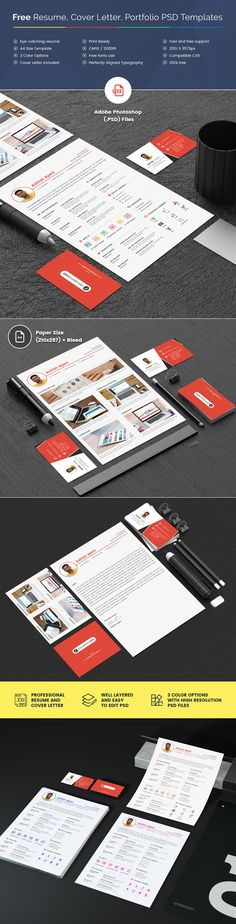 Free PSD of Professional Resume, Cover Letter and Portfolio - CreativePentool First Job, Cover Letter For Resume, Professional Resume, Psd Templates, Free Resume, Branding, Lettering, Resume Maker Professional, Calligraphy