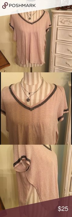 NWOT Guess T-Shirt Sz S Never worn, this cute T is open on both sides to the armpit.  Pretty pewter bedazzle accent around arm openings and V neckline.  Soft and comfortable material. Guess Tops Tees - Short Sleeve