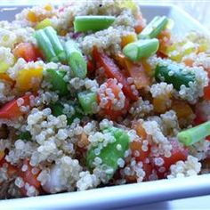 Quinoa Vegetable Salad Allrecipes.com corn, cucumber, peppers, onion, carrot