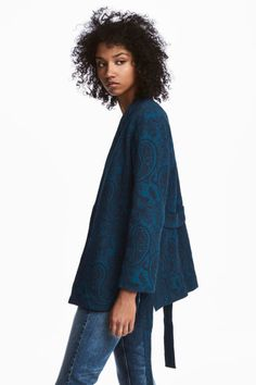 Жаккардовое кимоно - Синий/Пейсли - Женщины | H&M RU