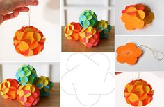 Here's a great idea for your Christmas tree decoration. You can make these fun paper ball ornaments to cover your tree with. The ornament can be made Paper Christmas Ornaments, Ball Ornaments, Diy Christmas Gifts, Christmas Tree Decorations, Holiday Crafts, Flower Ornaments, Diy Ornaments, Homemade Christmas, Diy Projects To Try