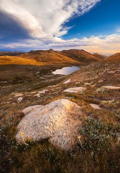 On Top Down Under - Kosciuszko National Park, New South Wales.  Taken from the highest point in Australia, Mount Kosciuszko, looking down onto Lake Cootapatamba.