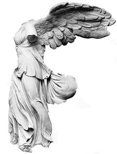 Winged Nike of Samothrace - Found in Samothrace Island , Northern Thracean Sea , Greece. 2nd century BC of Parian Marble , displayed at the Louvre Museum , compellingly depicted at the prow of a ship like descending from the skies to the triumphant fleet rippling in a strong sea breeze.
