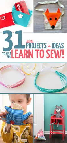these easy sewing projects for kids, teens, tweens, and adults are perfect to learn to sew on! They incorporate basic hand sewing and machine sewing skills and include free sewing patterns for beginners.