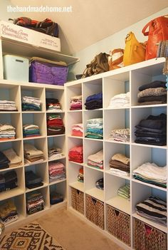 Big Kallax shelves can equal instant organization if you're okay with ditching your rod space. | 21 Useful Things That Will Actually Organize Your Closet
