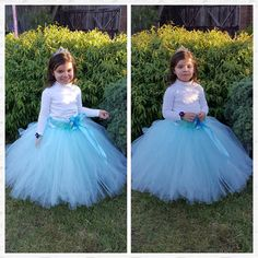 Blue Flower girl long Tutu Skirt  by FunkidsandUsBoutique on Etsy