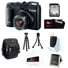 Canon PowerShot G16 12.1 MP CMOS Digital Camera Bundle with 32GB SD Memory Card + Small Case + 7-inch Spider Tripod + Accessory Kit