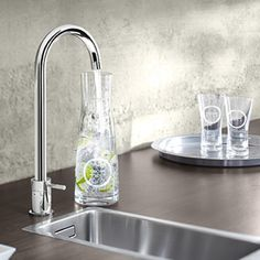 This multi-function kitchen tap can provide you with filtered, chilled AND sparkling water. From the Grohe Blue Mono System. http://www.housetohome.co.uk/room-idea/picture/modern-kitchen-design-essentials-10-of-the-best/3