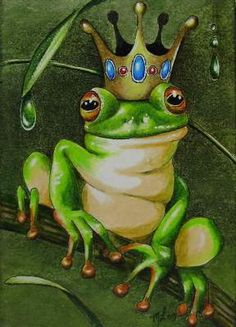 Melody Lea Lamb Miniature Art Print of my (3.5 inches x 2.5 inches) Colored Pencil and India Ink Frog Prince ACEO 1029painting. What is an ACEO? These are small works of art done in the standard trading card size of 3.5 x 2.5 inches.