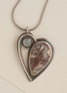 Heart, Mushroom Jasper, Aquamarine, Sterling Silver, Valentines Day, OOAK