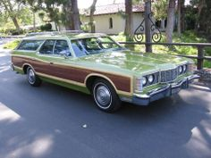 Ford LTD Country Squire Brougham 1973 car and first american classic! Maybe a shade darker but just like this one A US daily for 5 happy motoring years ; Beach Wagon, Vista Cruiser, Woody Wagon, Ford Ltd, Shooting Brake, Old Fords, Us Cars, Ford Motor Company, Station Wagon