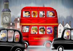 Children illustration art print  red double decker bus in London city  5.8 x 8.3 A5. €28.00, via Etsy.