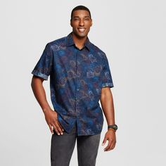 Men's Big & Tall Button Down Short Sleeve Shirt Mossimo Supply Co. - Teal (Blue)