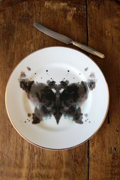 Limited Edition Ink Blot Bone China Side Plate - Butterfly