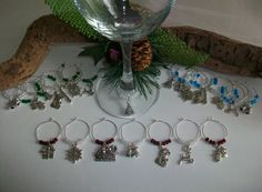 Christmas Wine Glass Charm Favor Decor Choice of Colors, Christmas Party Favor with Mixed Charms & Beads, Wine Lovers Christmas Barware Gift by SeashellBeachDesigns on Etsy