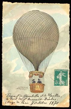 A beautifully fascinating collection of vintage hot air balloon art prints. From the beginning of air flight with the first manned balloon flight in Vintage Ephemera, Vintage Cards, Vintage Paper, Vintage Images, Vintage Pictures, Ancient Maps, Ballon Illustration, Art Postal, Retro Poster