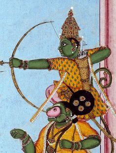Rama and Hanuman battle Ravana Tanjore or Trichinopoly, Tamil Nadu; circa 1820 ( Image source : British Museum ) From the Museum. Mysore Painting, Kalamkari Painting, Madhubani Painting, Silk Painting, Shiva Art, Krishna Art, Hindu Art, Indian Symbols, Indian Gods