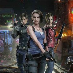 Leon, Jill and Claire Resident Evil 5, Valentine Resident Evil, Resident Evil Collection, Albert Wesker, Leon S Kennedy, Evil Games, Evil Art, Jill Valentine, Sarada Uchiha