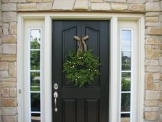 Spring Wreath  Boxwood Fern and Burlap Bow for by twoinspireyou, $75.00