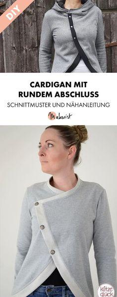 Rund geschnittener Cardigan mit schräger Knopfleiste für Damen - Schnittmuster und Nähanleitung via Makerist.de