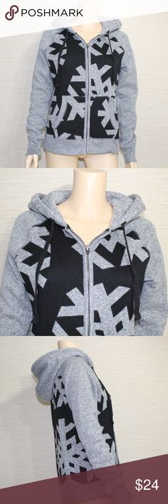 """Aeropostale Cardigan Sweater Size Medium Snowflake Nice Zipper Hoodie Cardigan Sweater  Aeropostale Size Medium Armpit to armpit lying flat 19"""" Sleeve 29"""" Length 24"""" Excellent Condition Clean, Smoke free Flat Front Pockets Gray and Black Nice heavy material Warm and cozy Fast shipping Aeropostale Sweaters Cardigans"""