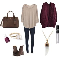 Casual outfit with chunky sweater, skinny jeans, combat boots. Featuring moonstone necklace by Naked Metallics.