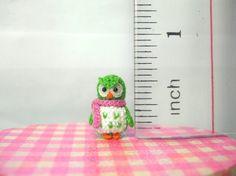 Green Owl Pink Scarf  Micro Crochet Miniature Bird  Made To