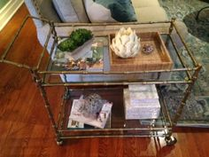 This bar cart is filled with HomeGoods finds.