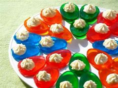 Pour jello into your devilled egg container. When set, top with whipped topping. :) Great for kids!